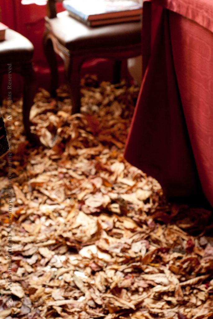 sala da pranzo foglie autunno