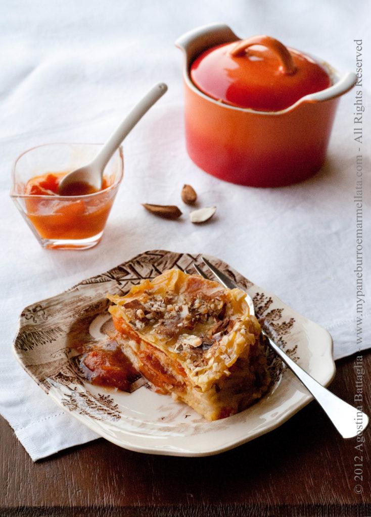 lasagne dolci alle albicocche e mandorle