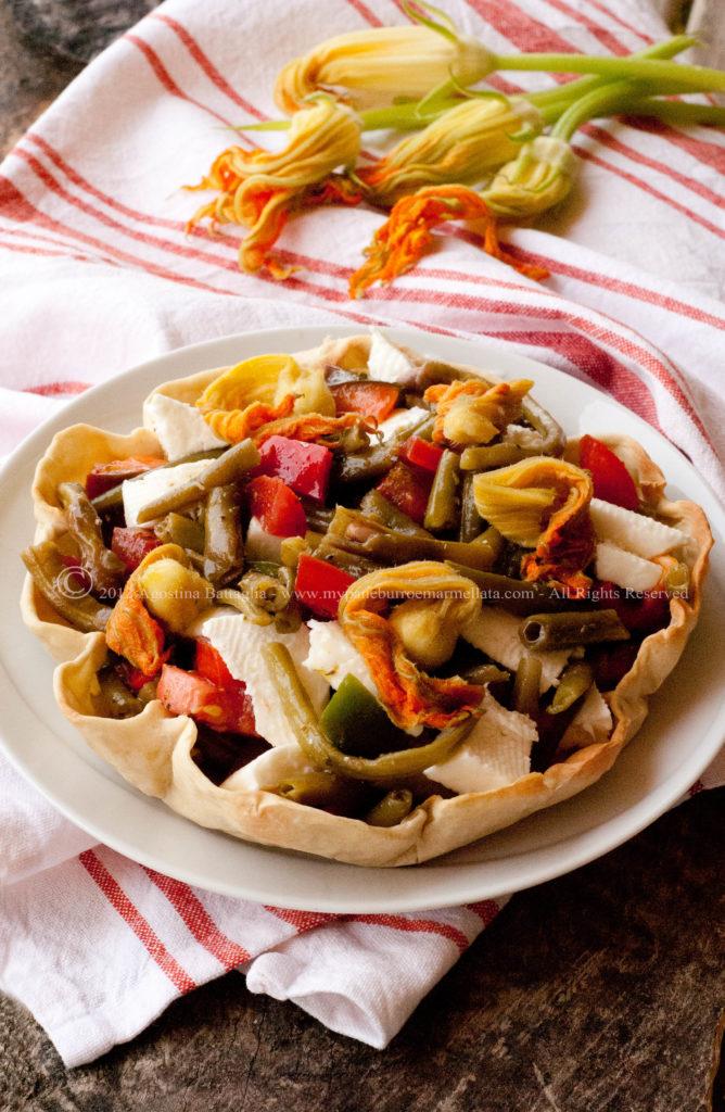 verdure al vapore in guscio di pasta matta