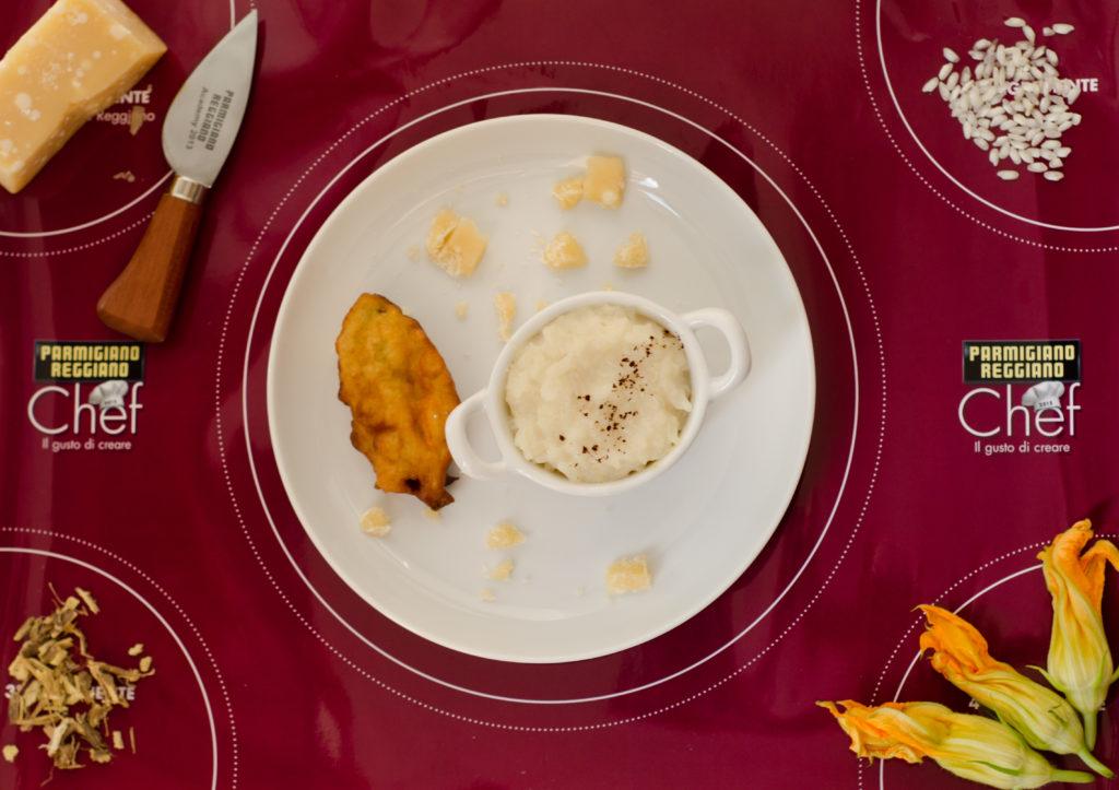 DSC_0279 risotto parmigiano liquirizia con fiore zucca